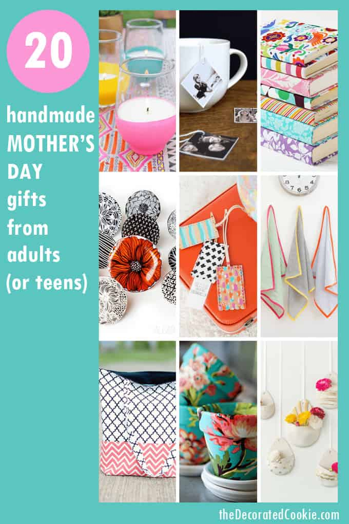 20 homemade Mother's Day gift ideas from adults or tweens or teens #handmadegiftideas #handmade #MothersDayGifts #teenhandmade
