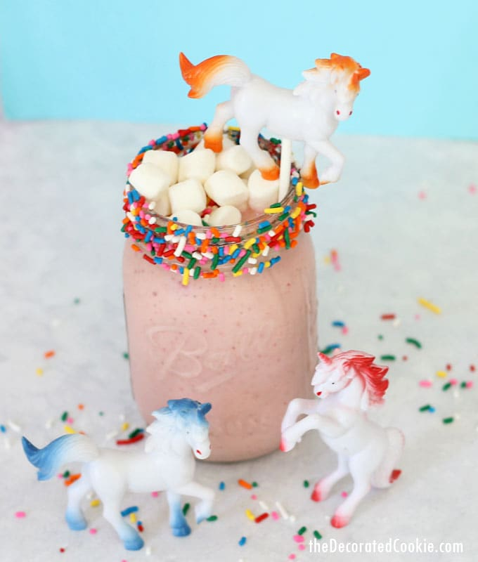 healthy unicorn smoothie -- 3-ingredient, easy, unicorn food with video how-tos (including the unicorn-on-a-stick)