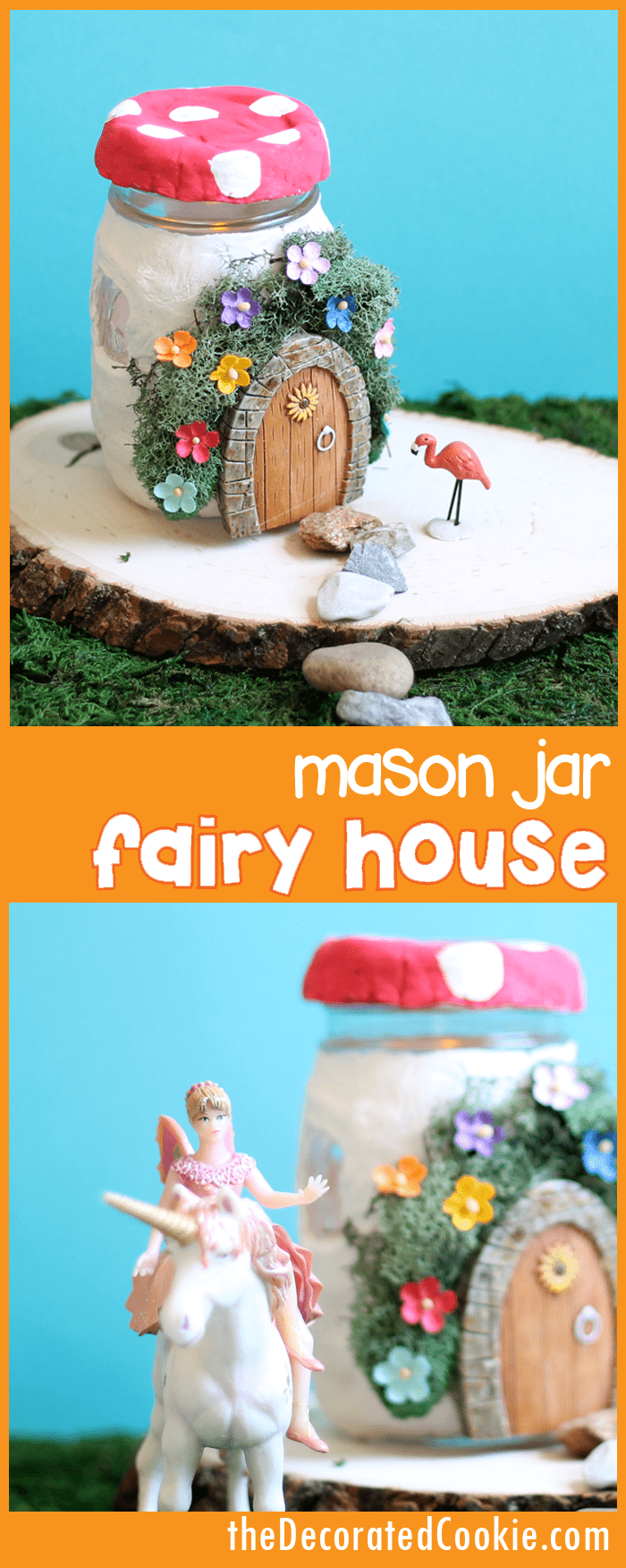 mason jar fairy house -- easy fairy garden craft for kids or adults -- with tea-lights inside