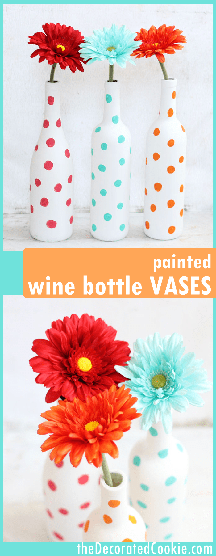 how to paint wine bottles -- painted polka dot wine bottle vases -- easy home decor DIY