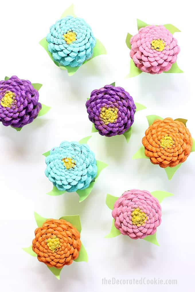 How to paint easy PINE CONE ZINNEAS, a colorful home decor flowers craft for spring. Easter centerpiece idea. Video step-sy-steps are included.