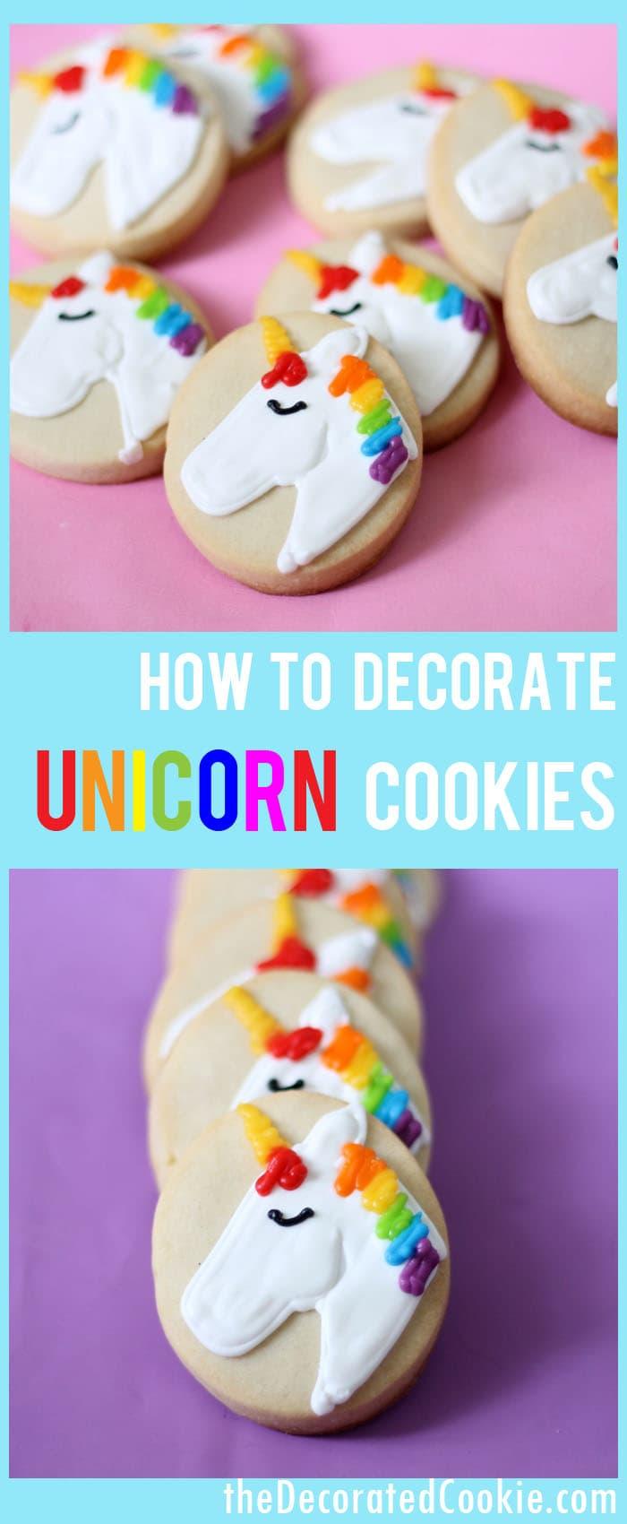 how to decorate simple unicorn cookies unicorn food unicorn party - How To Decorate Cookies