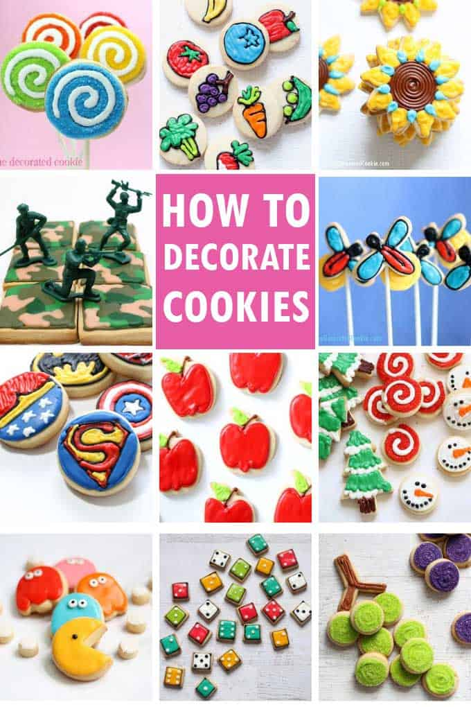 collage of decorated cookies