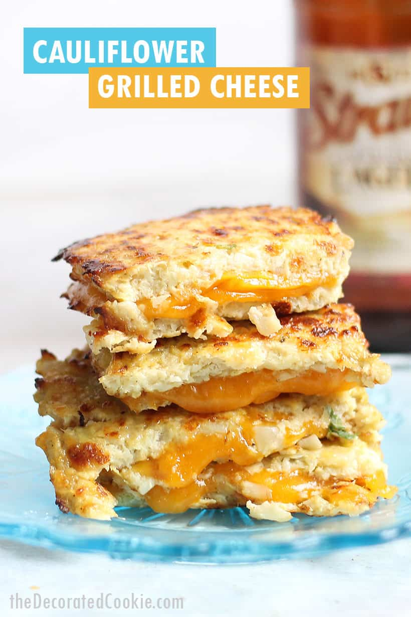 grilled cheese with cauliflower bread