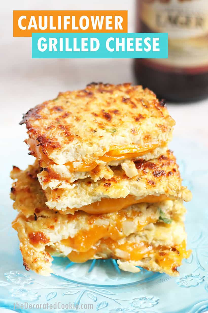 grilled cheese sandwich made from cauliflower bread