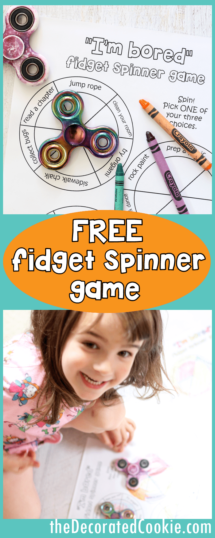 """I'm bored"" fidget spinner game for kids -- FREE printables -- video how-tos"