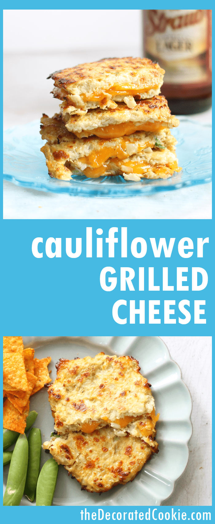 grilled cheese with cauliflower bread -- cauliflower substitute --low-carb lunch -- with video how-to