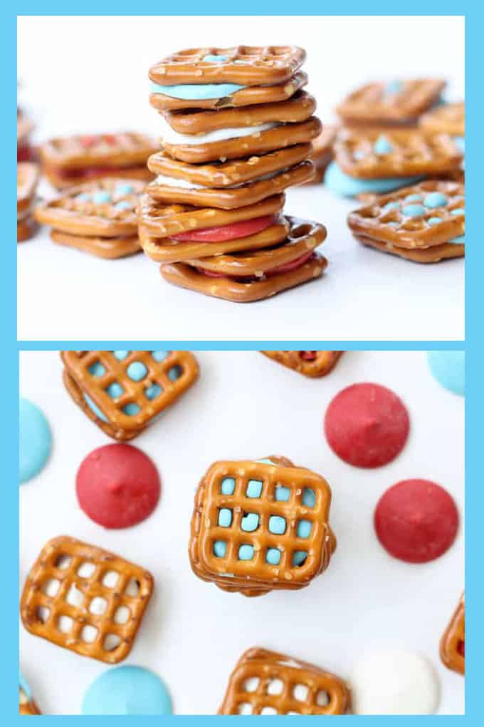 Patriotic pretzel bites for a quick and easy 4th of July dessert idea. Red, white, and blue fun food for Memorial Day or the 4th of July.