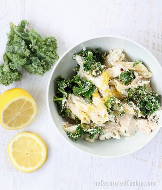 lemon chicken pasta with goat cheese and kale -- easy weeknight dinner idea -- video how-tos