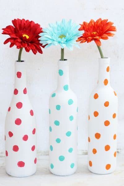 DIY painted polka dot wine bottles for a fun home decor craft