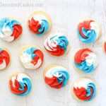 red, white, and blue swirl cookies