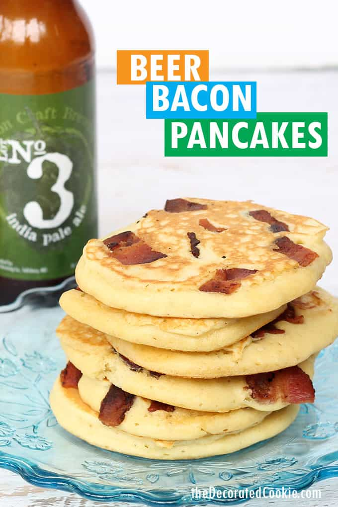 plate with beer and bacon pancakes