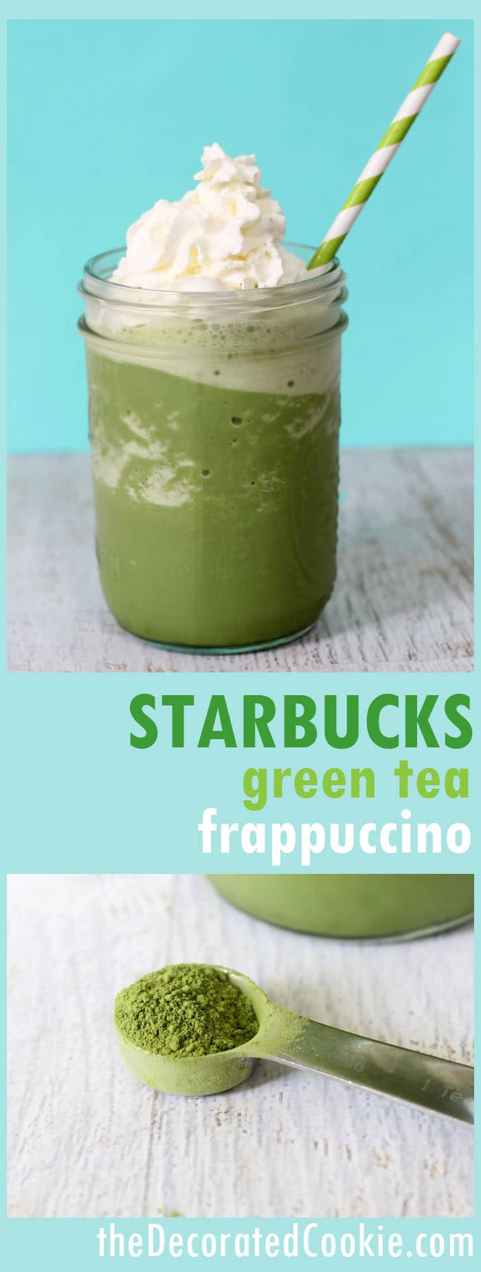 copycat Starbucks green tea frappuccino -- a healthier, less expensive, delicious homemade version of the smoothie