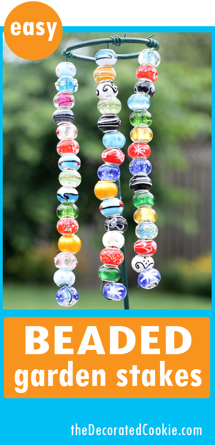 EASY DIY beaded garden stakes- - garden crafts