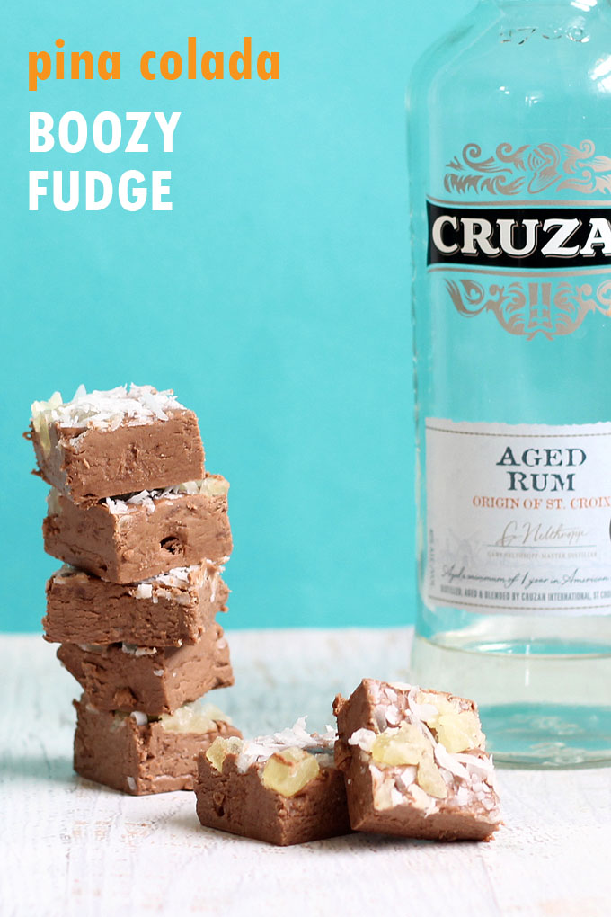 3-ingredient pina colada boozy fudge!  Strong, alcohol-filled dessert with rum, coconut, and pineapple, for grown-ups only. #PinaColada #BoozyFudge