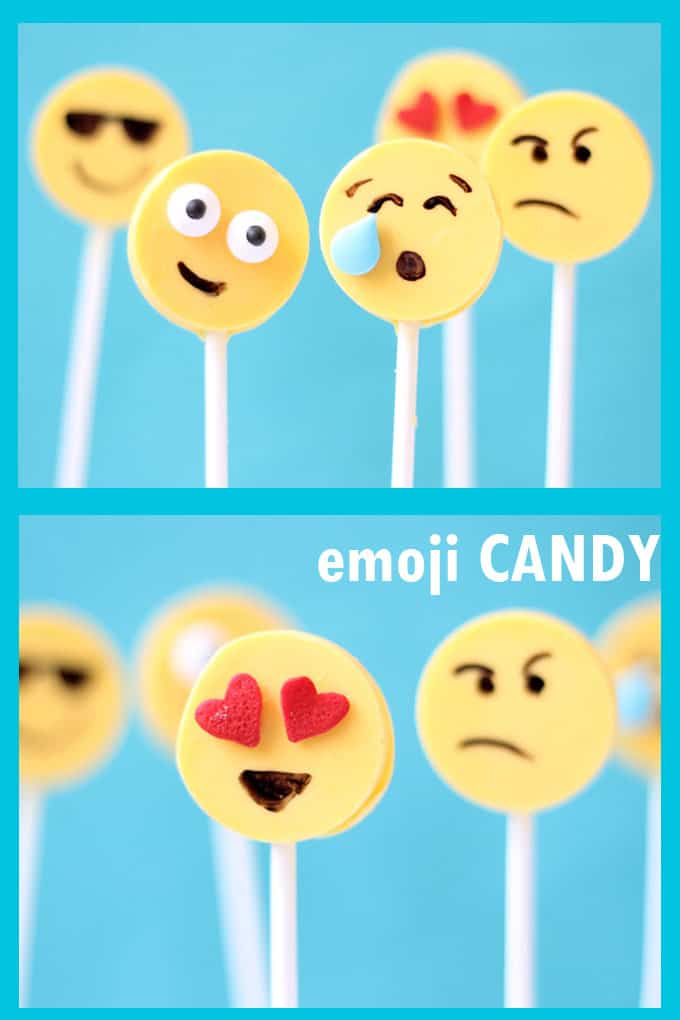 Easy emoji candy pops using the silicone lollipop mold. Fun food for any emoji party. These chocolate emoji pops are delicious too! #EmojiCandy #EmojiFood