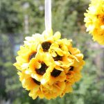 sunflower kissing balls -- easy home decor craft with flowers -- porch idea of party idea for weddings and showers -- fall craft idea