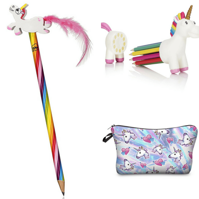 roundup of unicorn school supplies for back to school