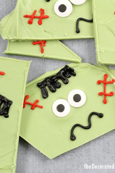 Frankenstein chocolate bark -- easy Halloween treat idea
