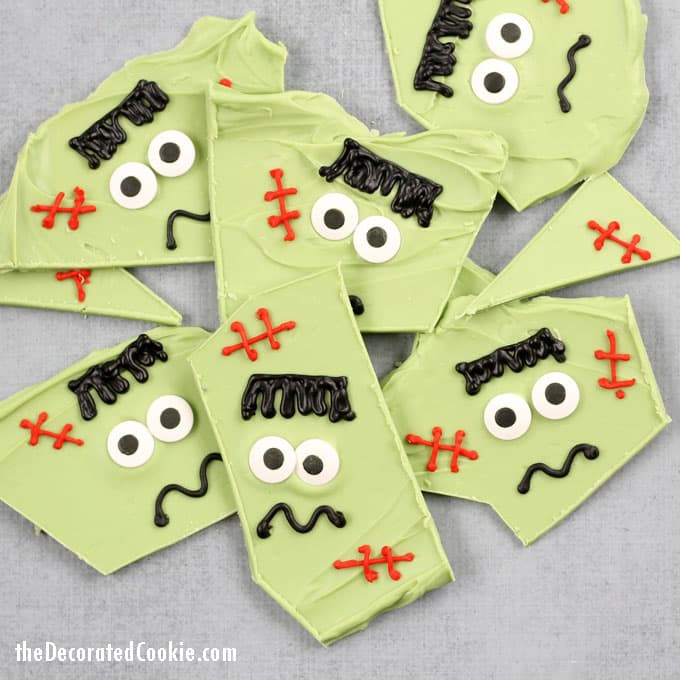 Frankenstein chocolate bark -- easy Halloween treat idea