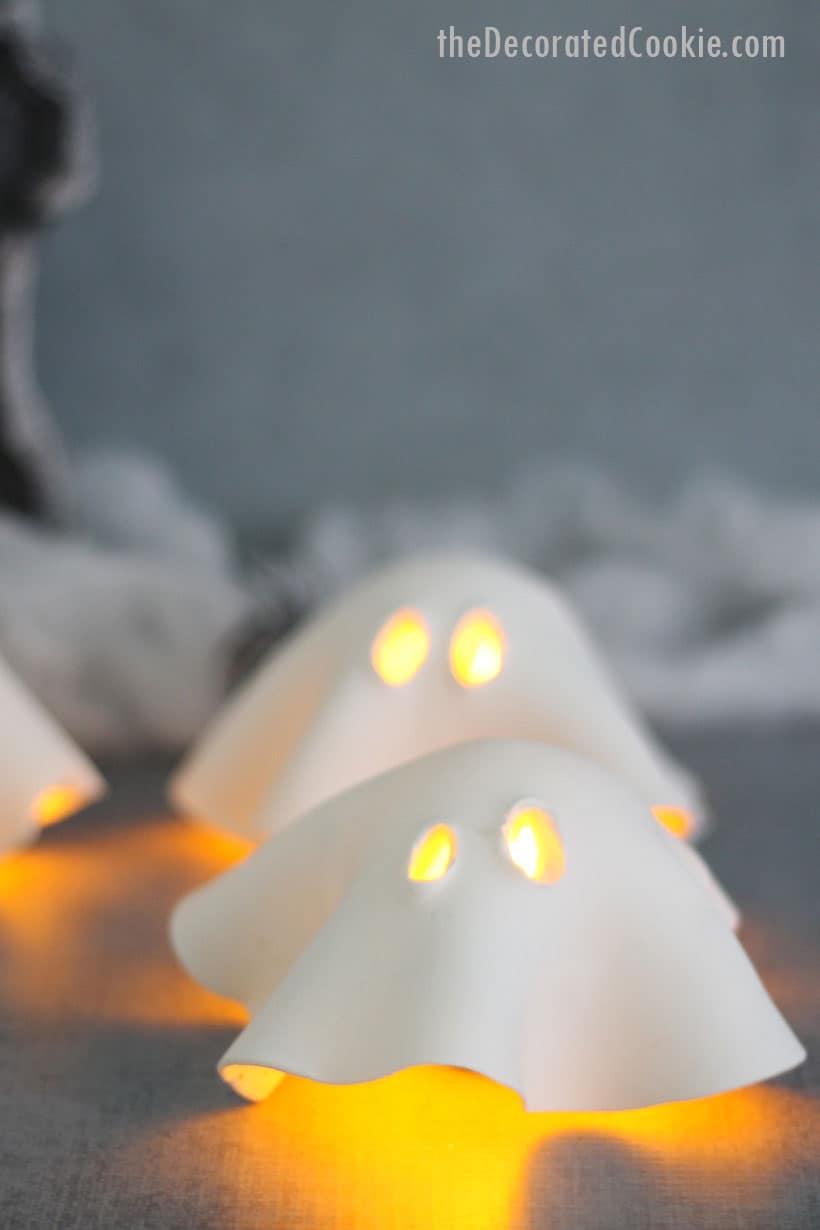 air-dry clay ghost tea lights for Halloween