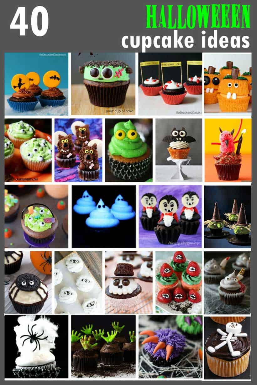 collage of Halloween cupcakes