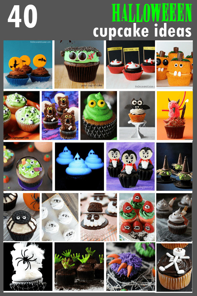An awesome roundup of 40 Halloween cupcake ideas! Easy ways to find fun food and spooky treat ideas for your Halloween party.