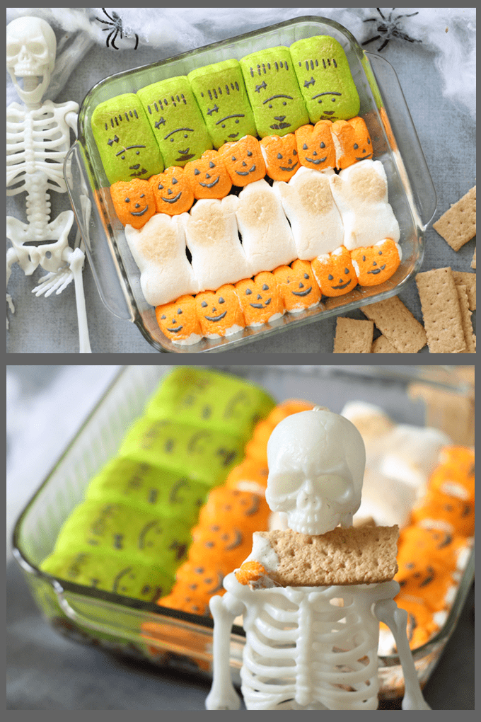 How to make awesome 2-ingredient HALLOWEEN S'MORES DIP with chocolate chips and Halloween Peeps. #halloween #funfood #halloweenfood #partyfood #smores #smoresdip #chocolate #marshmallows
