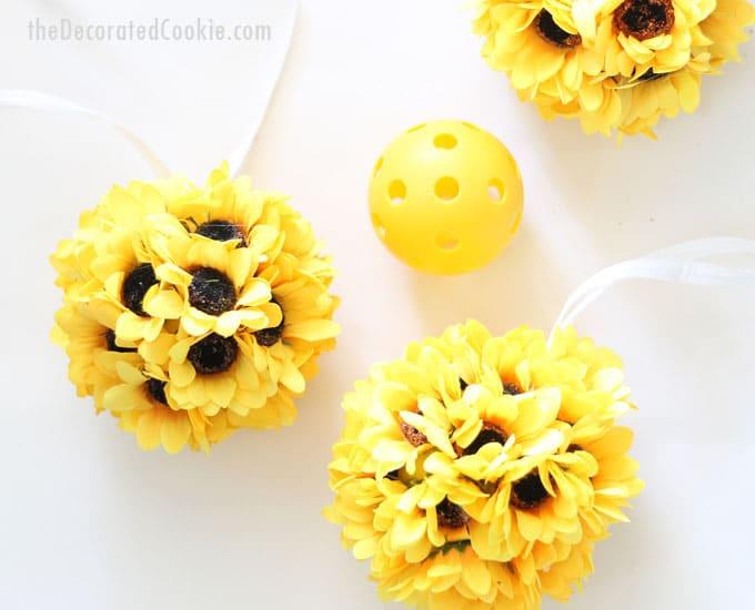 EASY sunflower kissing balls home decor craft
