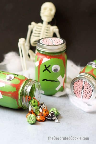 zombie mason jars with candy Halloween craft