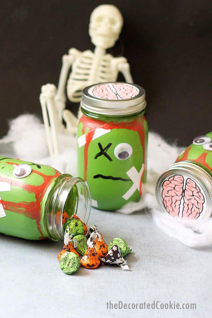 zombie mason jars with candy Halloween craft