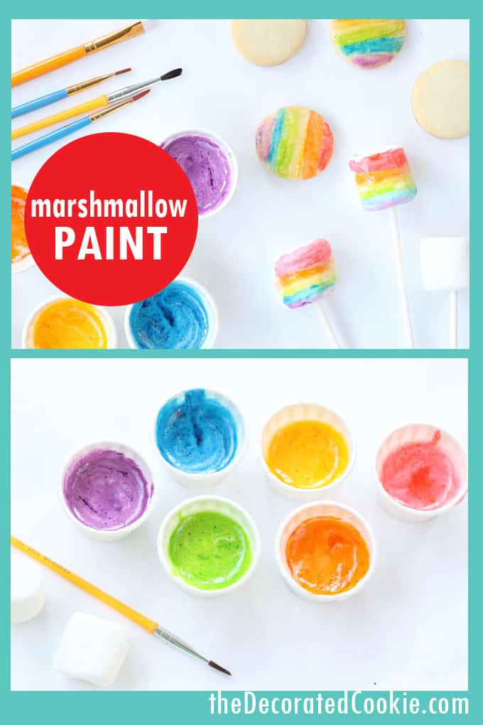 Edible marshmallow paint in a rainbow of colors is an easy medium to decorate cookies, marshmallows, and even paper. #Marshmallows #MarshmallowPaint #RainbowFood #KidsCookieDecorating
