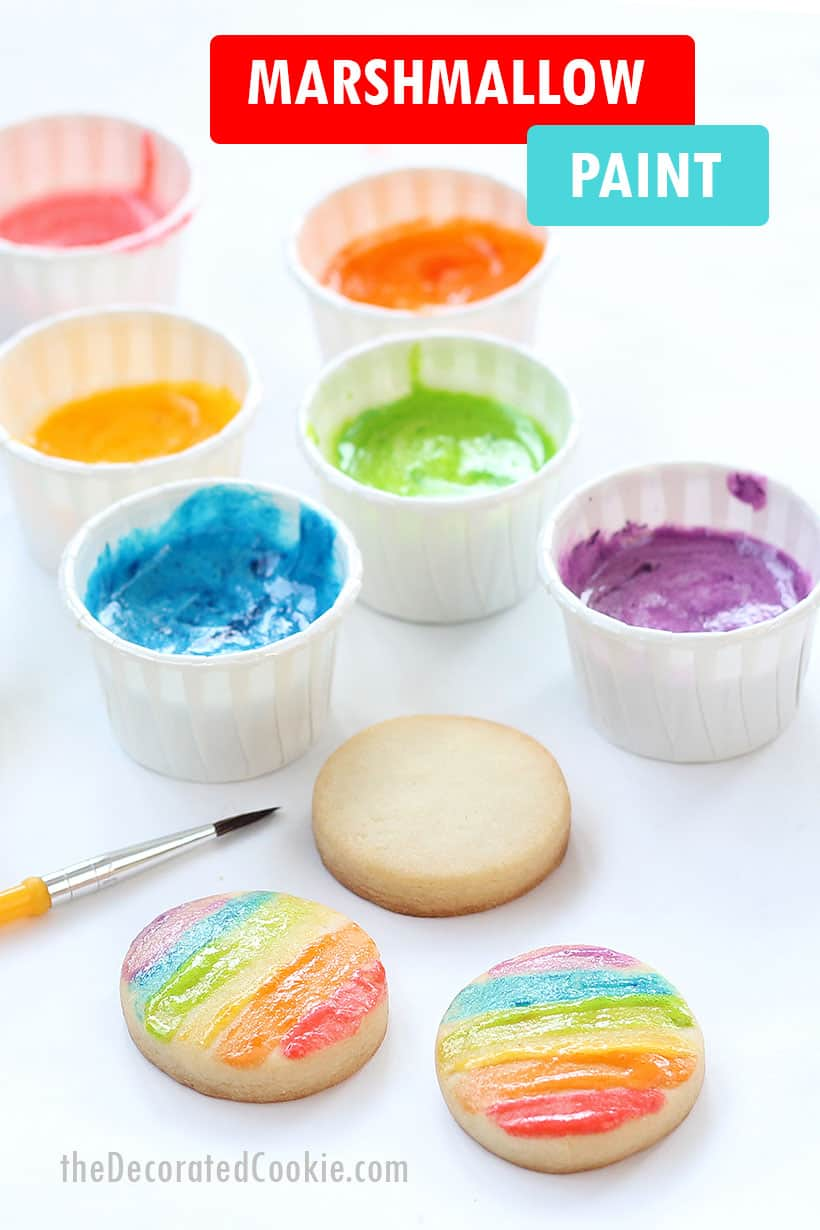 Edible marshmallow paint for cookie decorating. Fun activity for kids.