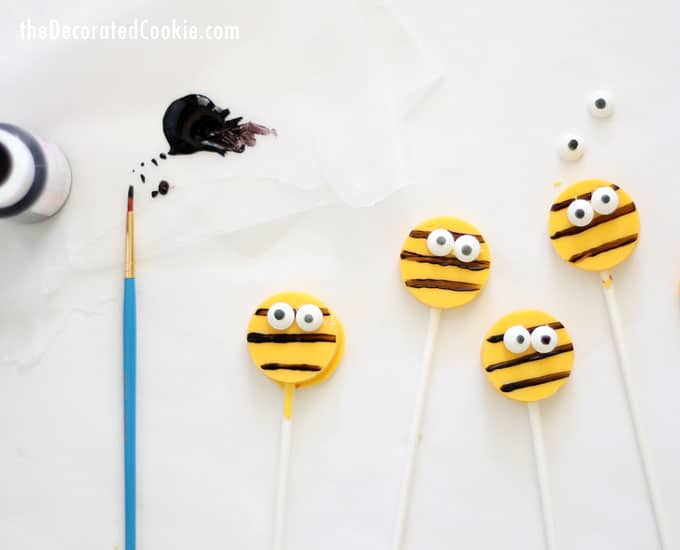 bumble bee chocolate pops -- cute bug treats -- for Zinnea and the Bees children's book