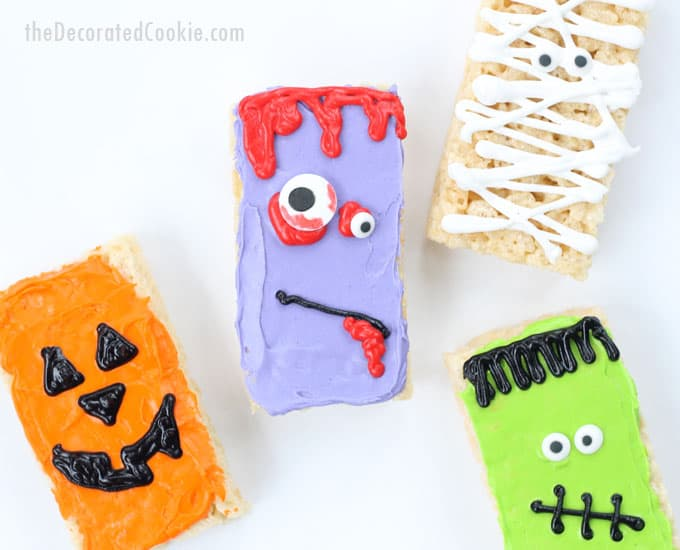 how to make easy Halloween Rice Krispie Treat -- 4 ideas using store-bought treats and frosting