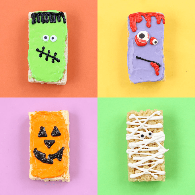 Quick and easy Halloween Rice Krispie Treats with store-bought cereal treats and frosting are a great addition to your Halloween party food. Try a Frankenstein, Jack O' Lantern, mummy, or zombie.  #halloween #partyfood #ricekrispietreats #cerealtreats #frankenstein #mummy #zombie #halloweentreats