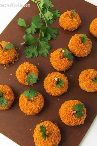 EASY mozzarella bite pumpkins appetizer with Farm Rich products -- Fall or Halloween party food