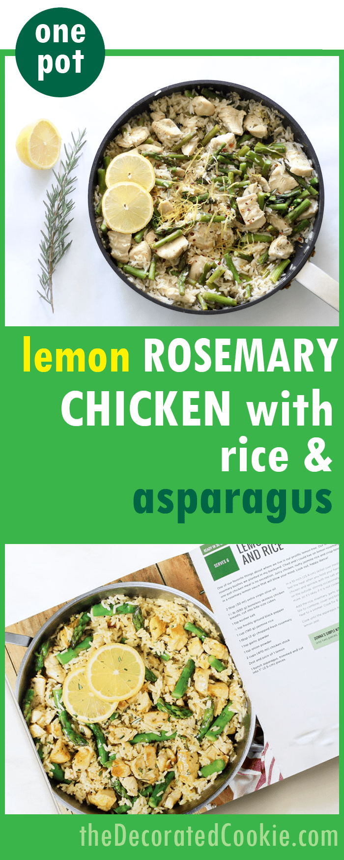 weeknight dinner idea one pot dinner idea: lemon rosemary chicken with rice and asparagus