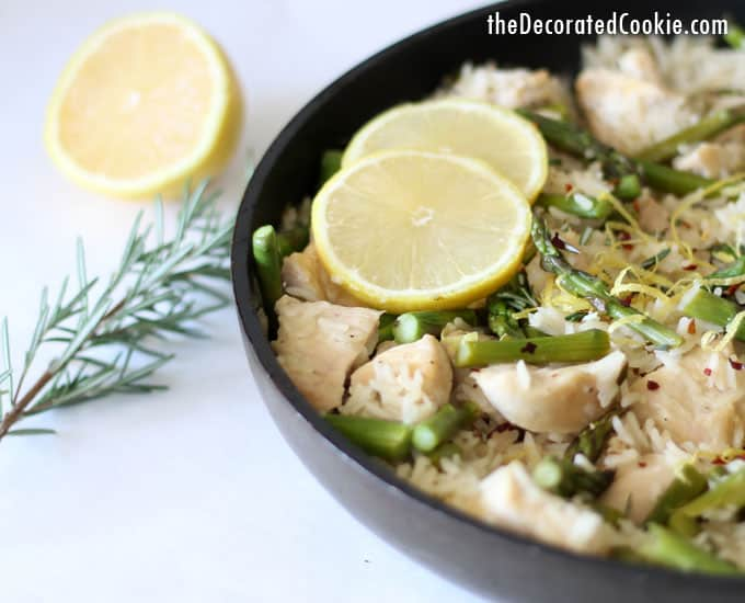 one pot dinner idea: lemon rosemary chicken with rice and asparagus