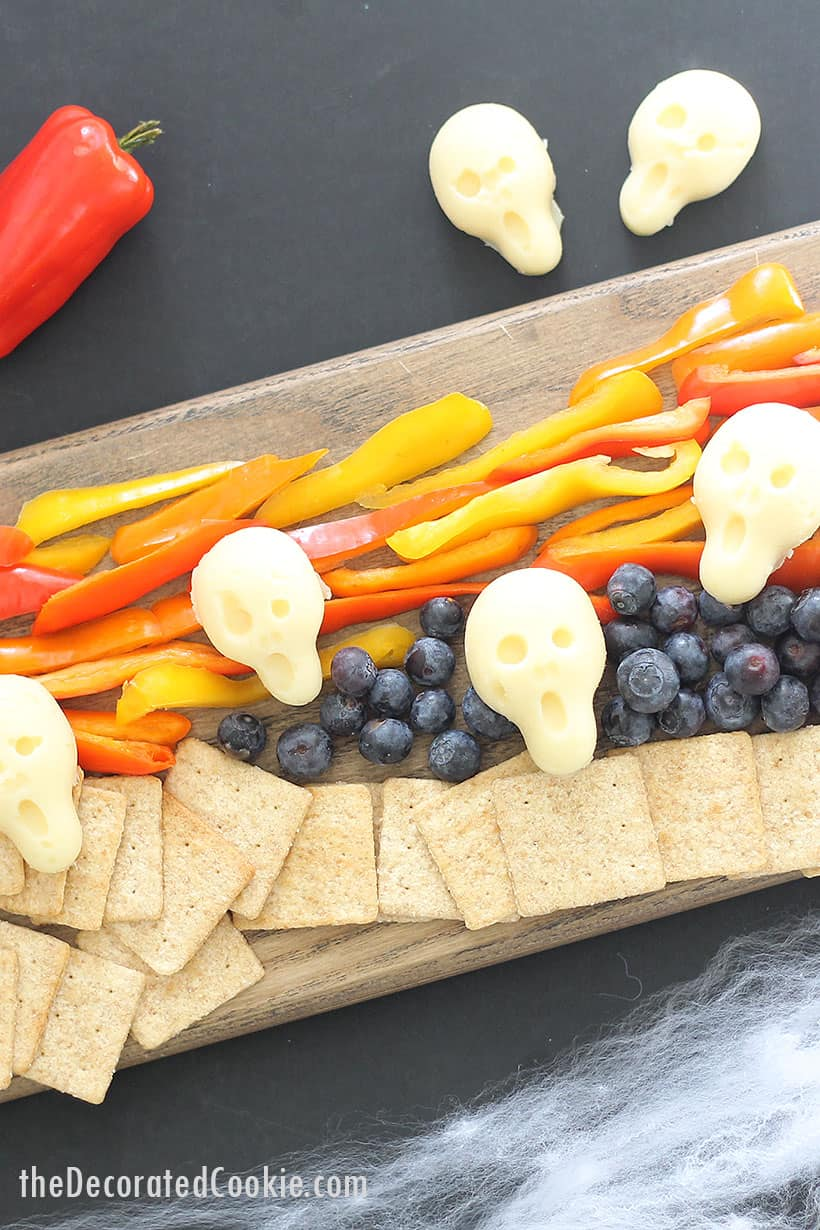 The Scream theme cheese and veggie Halloween appetizer