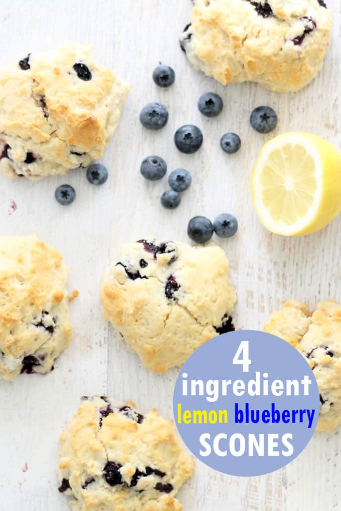 These four-ingredient lemon blueberry scones take minutes to make. Learn how to make this quick and easy copycat Starbucks recipe. Scones made with lemonade! #StarbucksRecipe #LemonBlueberryScones