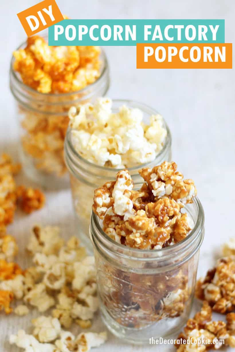 Popcorn Factory copycat popcorn in buttered, caramel, and cheese, packaged in jars