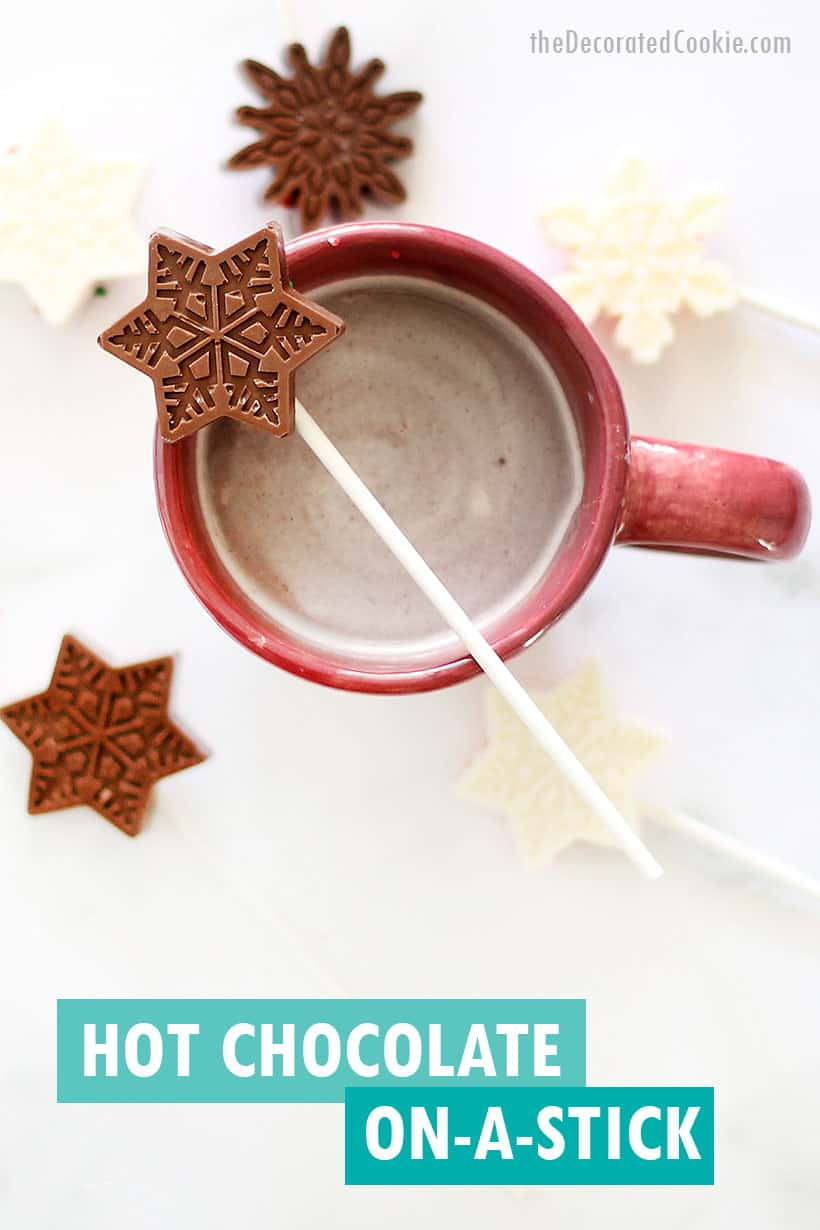 hot chocolate on a stick and hot coco