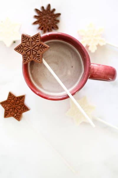 hot chocolate on a stick and hot cocoa in a mug