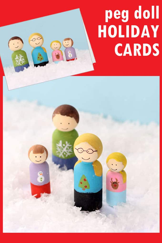 UNIQUE FAMILY HOLIDAY CARD IDEA: How to make your own peg doll family holiday cards. Try sending unique Christmas cards this year! Personalize your cards, including pets.