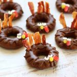 how to make baked chocolate donut turkeys for a fun Thanksgiving breakfast or treat