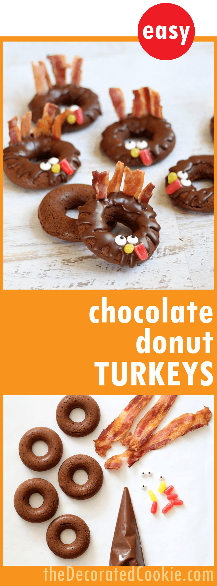 Baked Chocolate Donut Turkeys For A Thanksgiving Breakfast