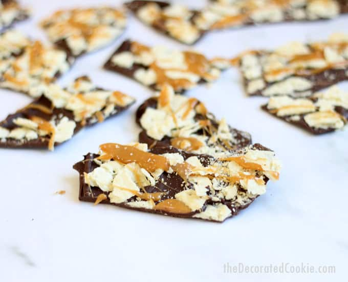 3-ingredient Christmas crack bark -- a twist on the traditional recipe. Chocolate, caramel, and Saltine crackers. Great homemade Christmas food gift idea.