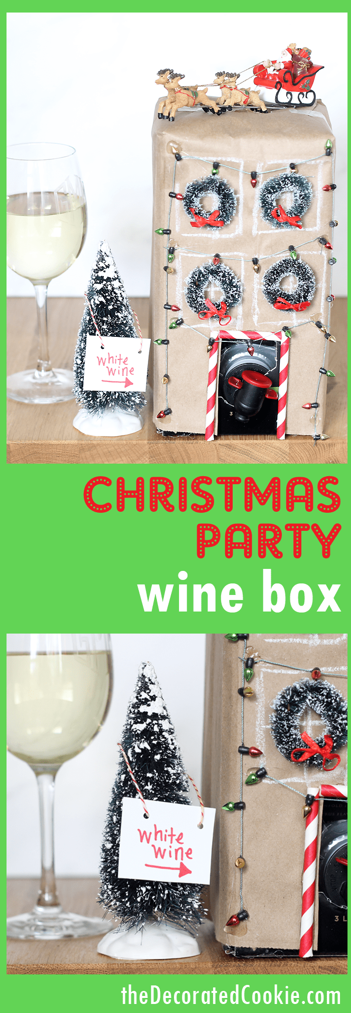 Serve Christmas party boxed wine -- Dress up a box of wine for your Christmas part. Video how-tos included. Easy Christmas party idea.