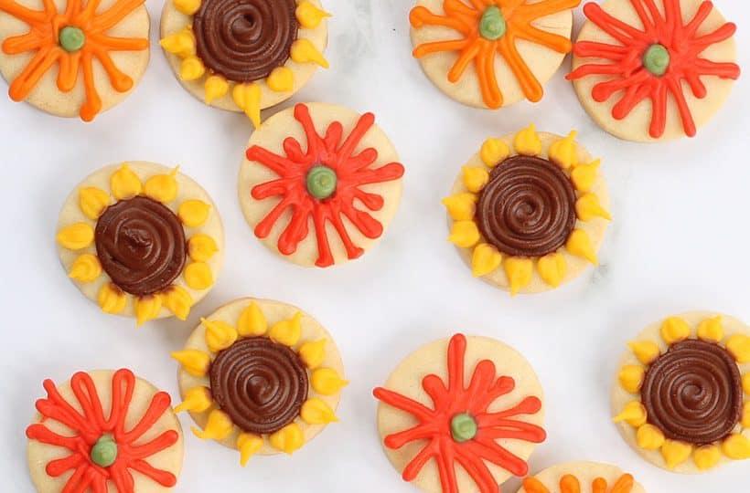 fall flower cookies